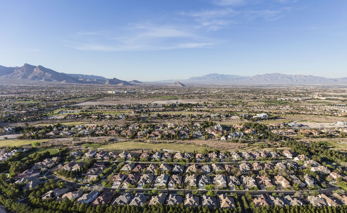 Aerial view of suburban residential neighborhood in northwest Las Vegas, Nevada.